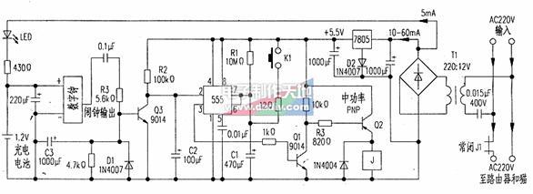 路由器定时关机装置  电路如附图所示.通电时+5