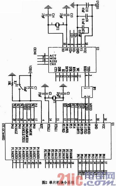 1 控制电路 系统的控制电路是以stc12c5a60s2单片机为控制核心构成的