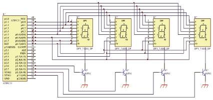 led显示电路 由n片led显示块可拼接成n位led显示器