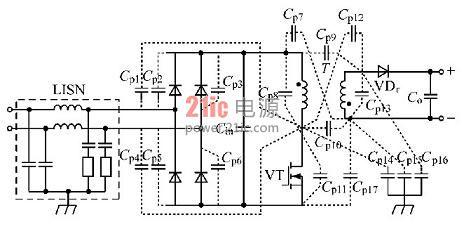 反激式开关电源寄生电容典型的分布